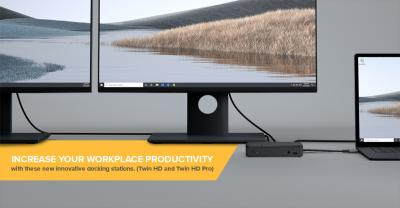 Increase your workplace productivity with these new innovative docking stations. (Twin HD and Twin HD Pro)