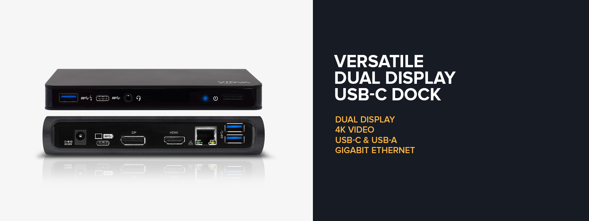 UCDHP1 Alogic USB-C Dual Display Docking Station with Power Delivery - VROVA Series