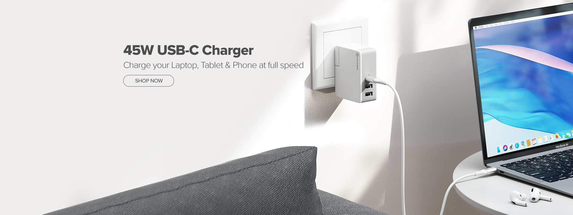 45W Wall charger banner